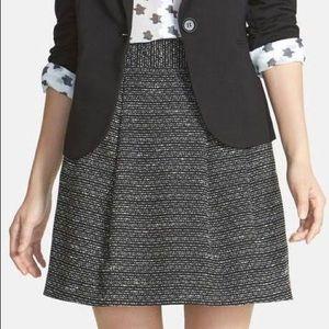 Halogen Black & White Tweed Pleated Mini Skirt